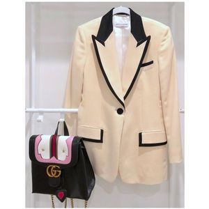 Dolce and Gabbana Cream Black Wool Tweed Blazer